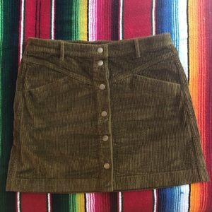 madewell corduroy a line button front skirt